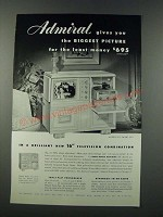 1949 Admiral Model 4H126 Television Radio Phonograph Ad - Biggest Picture