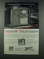 1949 Zenith Gotham Television, Phonograph Radio Ad - Superb Combination