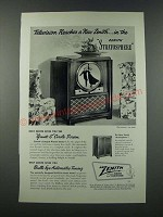 1949 Zenith Stratosphere Television Ad - Reaches a New Zenith