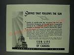 1949 Sun Life Assurance Company of Canada Ad - Service that Follows the Sun