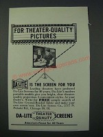 1949 Da-Lite Screens Ad - For Theater-Quality Pictures