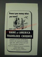 1949 Bank of America Travelers Cheques Ad - Protect Your Money When You Travel