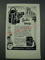1949 Bolex H-16, H-8 and L-8 Movie Cameras Ad - Bolex Belongs