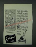1949 Eclipse Rocket 20 Lawn Mower Ad - Scott Brown cartoon