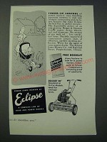 1949 Eclipse Rocket 20 Lawn Mower Ad - Scott Brown cartoon - Finger-tip Control