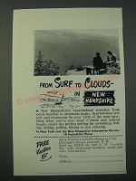 1949 New Hampshire Tourism Ad - From Surf to Clouds