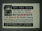1949 Albuquerque New Mexico Ad - Help Complete Your Plans