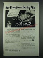 1948 Zenith 75 Hearing Aid Ad - New Revolution in Hearing Aids