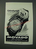 1948 Movado Calendograph Watch Ad - Time From Month to Second