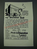 1948 The Sheraton Hotel Washington D.C. Ad - Try Sheraton First