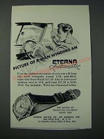 1948 Eterna Automatic Watch Ad - Picture of a Man Winding