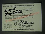 1948 Biltomore Palm Beach Florida Hilton Hotel Ad - Largest Resort Hotel