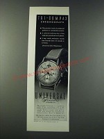 1947 Universal Geneve Tri-Compax Chronograph Watch Ad