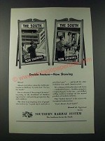 1947 Southern Railway System Ad - Double Feature Now Showing