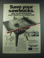 1978 Sears 10-Inch Table Saw Ad - Save Your Sawbucks