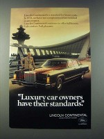 1978 Lincoln Continental Ad - Luxury Car Owners Have Their Standards