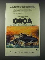 1977 Orca Movie Ad - Angry Thunderbolt of Terror Explodes Out of Ocean's Depths