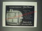 1947 Philco Chippendale Radio Phonograph Ad - Surface Noise