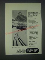 1947 Swiss National Tourist Office Ad - Winter Olympic Season