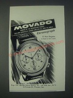 1947 Movado Chronograph Watch Ad - Winners of 165 Observatory Awards