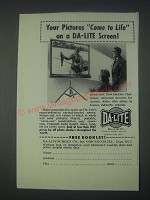 1947 Da-Lite Challenger Screen Ad - Your Pictures Come to Life