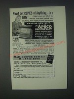 1946 APECO Photoexact Copier Ad - Get Copies of Anything In a Jiffy!