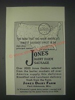 1931 Jones Dairy Farm Sausage Ad - Made America's Finest Sausage since 1834