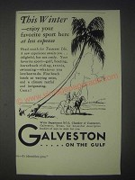 1931 Galveston Texas Ad - This Winter Wnjoy Your Favorite Sport Here