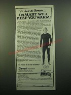 1980 Damart Thermawear Ad - Lower the Thermostat