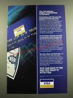 1982 VISA Travelers Cheques and Blue, White and Gold Card Ad - The Emblem