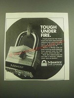 1982 Master Lock Ad - Tough Under Fire