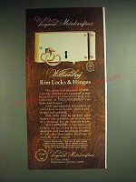 1985 Virginia Metalcrafters Williamsburg Rim Locks & Hinges Ad