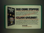 1985 Schlage night Eye Ad - Free crime stopper