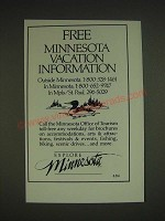 1985 Minnesota Tourism Ad - Free Minnesota Vacation Information