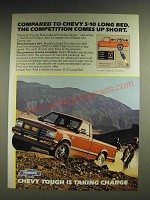 1984 Chevy S-10 Long Bed Pickup Truck Ad - Competition Comes up Short