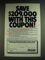 1984 Allstate Insurance Ad - Save $209,000 with this coupon