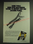 1984 Vise-Grip Locking Pliers Ad - Some tools bend over backwards