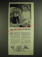 1948 Johnson's Baby Oil and Baby Powder Ad - What, Mom! You're not asleep yet?