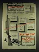 1932 Winchester Model 52 Rilfe and Precision Cartridges Ad - Big wins in N.R.A.
