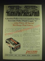 1932 Peters Rustless Ammunition Ad - Columbus Police win every match in N.R.A.