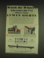 1932 Lyman Sights Ad - 48J, 48Y, 48L, 17A - Watch the winners who score the V's