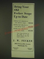 1932 J.W. Fecker Scopes Ad - Bring your old Fecker scope up to date