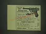 1932 Arnold Wolff Ad - Brand new German Luger Automatics