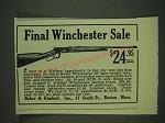 1932 Baker & Kimball Winchester Model 55 Rifle Ad - Final Winchester Sale $24.95