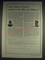 1933 NRA National Rifle Association Ad - Like Going to School