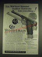 1933 Colt Woodsman Pistol Ad - This new Short Barreled outdoor automatic
