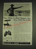 1933 Bausch & Lomb Spotting Scope Ad - Chas. Askins, Jr., Pistol Champion