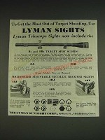 1933 Lyman Ad - Targetspot Scope, 48J and 48Y Receiver Sights