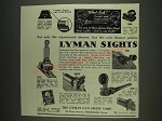 1933 Lyman Sights Ad - 5B, 1A, 55, 48Y and 38 - Not only the experienced