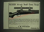 1933 J.W. Fecker 10-inch Small Game Scope Ad